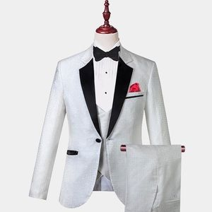 Other - Men's White Black Lapel 3 Piece Tuxedo